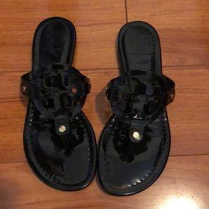 Tory Burch black patent leather Miller Sandal